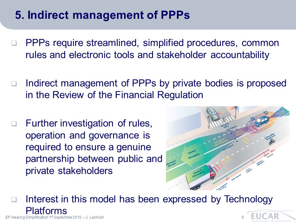 ac 8EP Hearing Simplification 1 st September 2010 – J. Leohold 5. Indirect management of PPPs PPPs require streamlined, simplified procedures, common