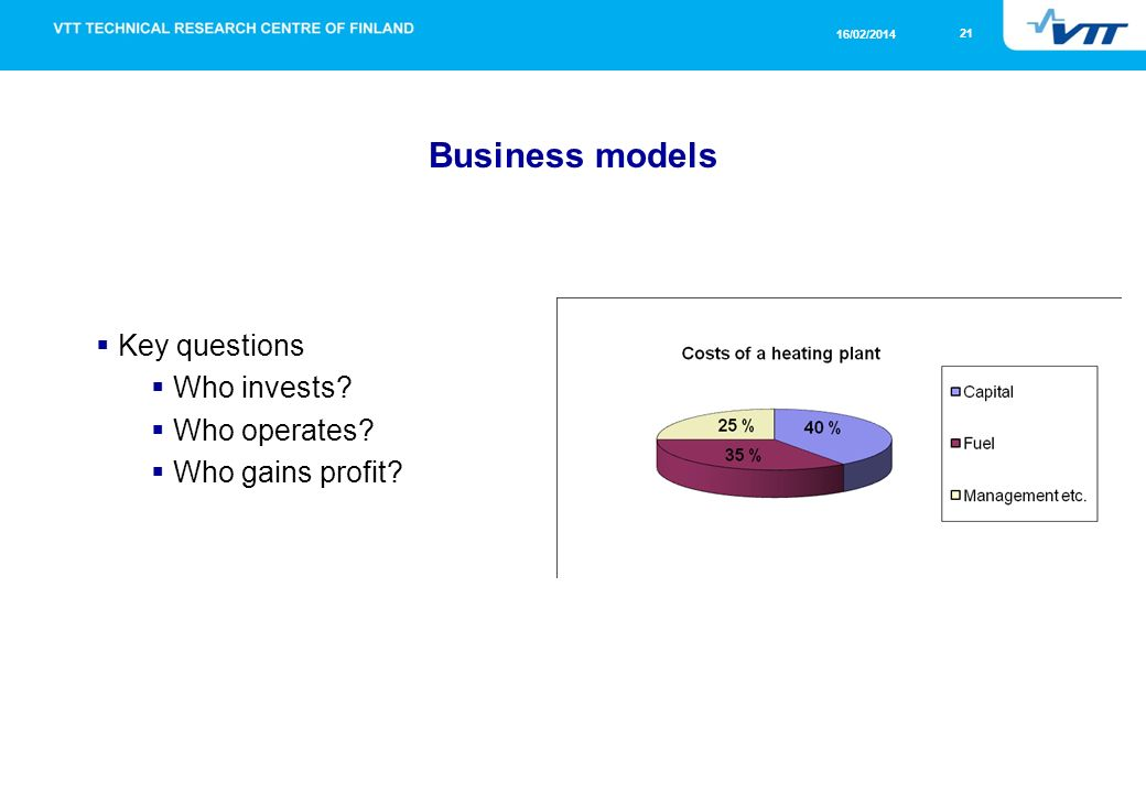21 16/02/2014 Business models Key questions Who invests Who operates Who gains profit