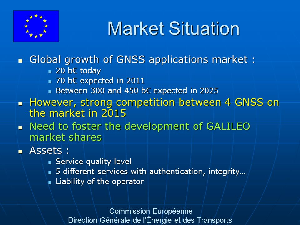 Commission Européenne Direction Générale de lÉnergie et des Transports Market Situation Global growth of GNSS applications market : Global growth of GNSS applications market : 20 b today 20 b today 70 b expected in 2011 70 b expected in 2011 Between 300 and 450 b expected in 2025 Between 300 and 450 b expected in 2025 However, strong competition between 4 GNSS on the market in 2015 However, strong competition between 4 GNSS on the market in 2015 Need to foster the development of GALILEO market shares Need to foster the development of GALILEO market shares Assets : Assets : Service quality level Service quality level 5 different services with authentication, integrity… 5 different services with authentication, integrity… Liability of the operator Liability of the operator