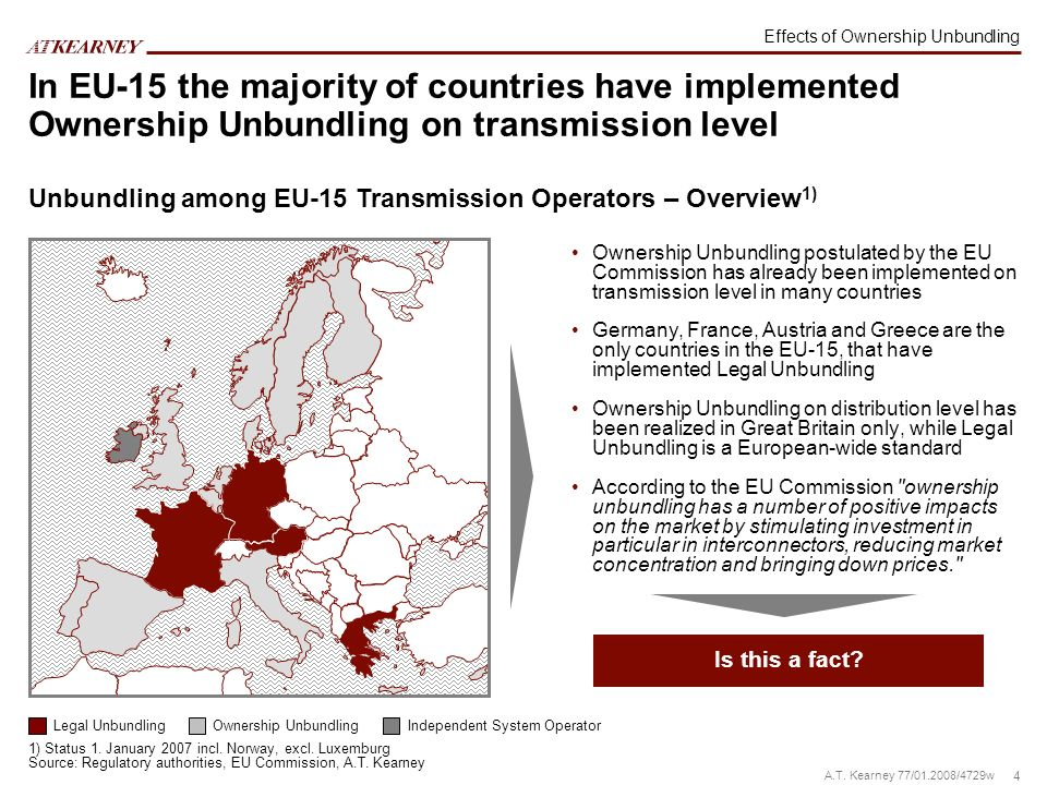 4 A.T. Kearney 77/01.2008/4729w In EU-15 the majority of countries have implemented Ownership Unbundling on transmission level Ownership Unbundling po