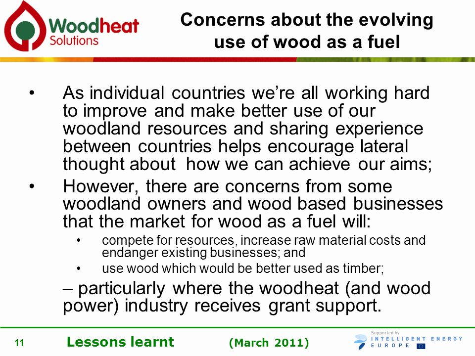 Lessons learnt (March 2011) 11 Concerns about the evolving use of wood as a fuel As individual countries were all working hard to improve and make bet