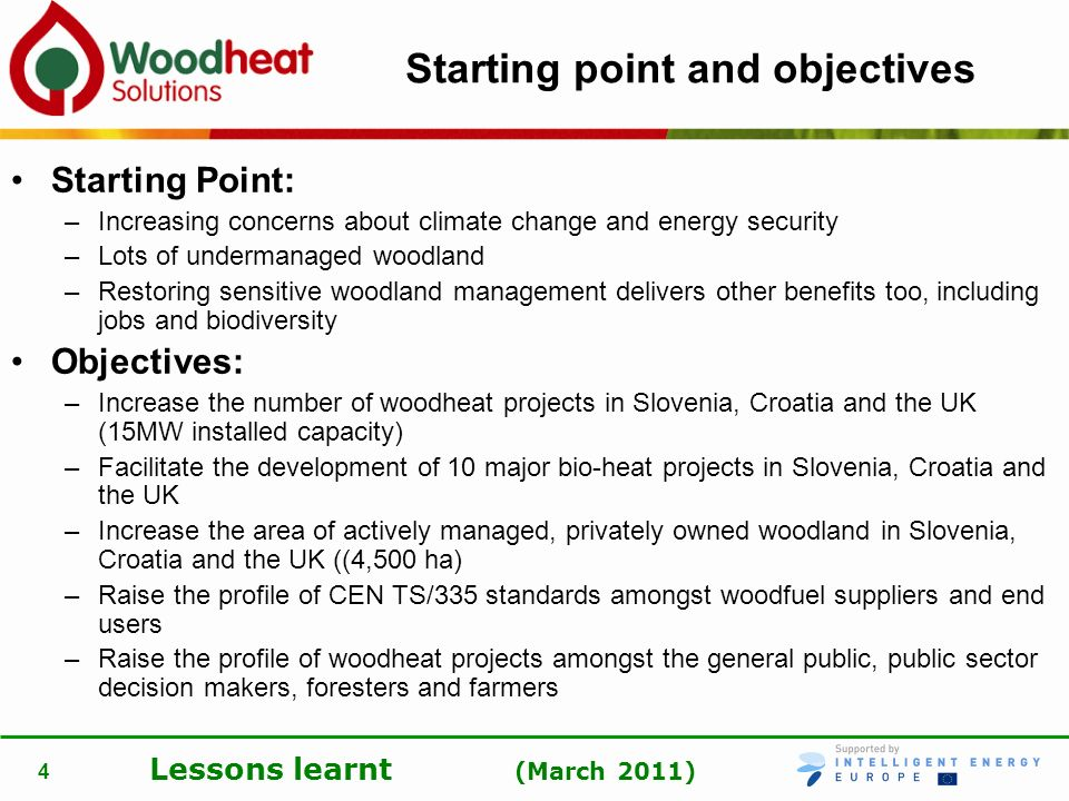Lessons learnt (March 2011) 4 Starting point and objectives Starting Point: –Increasing concerns about climate change and energy security –Lots of und