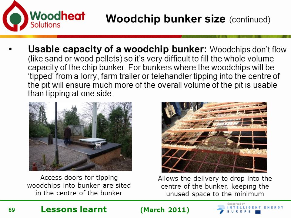 Lessons learnt (March 2011) 69 Woodchip bunker size (continued) Usable capacity of a woodchip bunker: Woodchips dont flow (like sand or wood pellets)