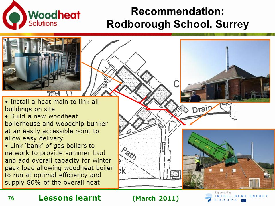 Lessons learnt (March 2011) 76 Recommendation: Rodborough School, Surrey Install a heat main to link all buildings on site Build a new woodheat boiler