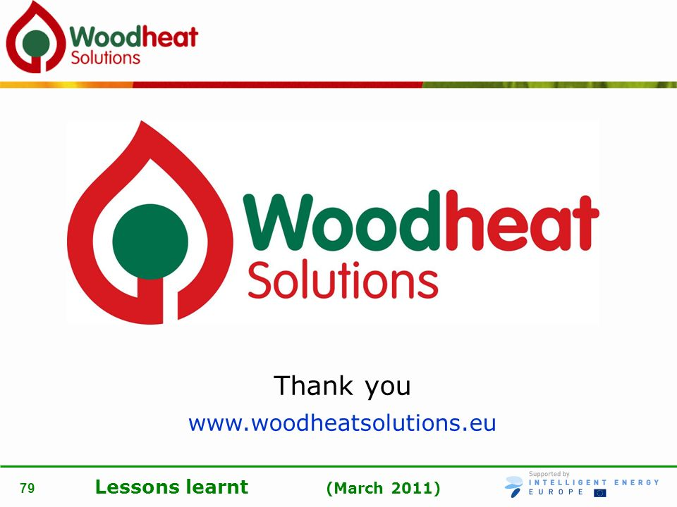 Lessons learnt (March 2011) 79 Thank you www.woodheatsolutions.eu