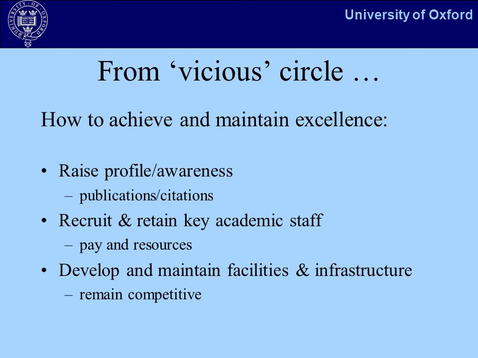 University of Oxford From vicious circle … How to achieve and maintain excellence: Raise profile/awareness –publications/citations Recruit & retain key academic staff –pay and resources Develop and maintain facilities & infrastructure –remain competitive