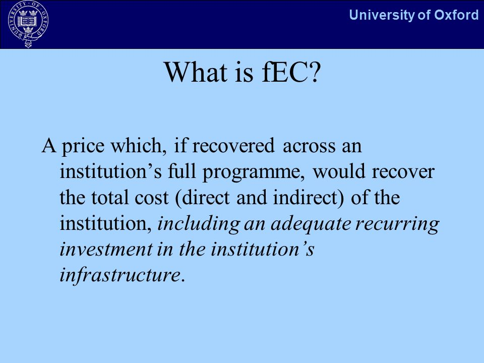 University of Oxford What is fEC.