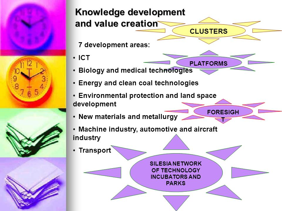 PLATFORMS CLUSTERS FORESIGH T Knowledge development and value creation 7 development areas: ICT Biology and medical technologies Energy and clean coal technologies Environmental protection and land space development New materials and metallurgy Machine industry, automotive and aircraft industry Transport SILESIA NETWORK OF TECHNOLOGY INCUBATORS AND PARKS