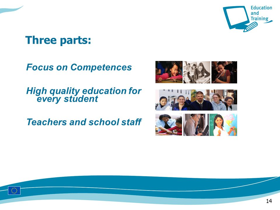 14 Three parts: Focus on Competences High quality education for every student Teachers and school staff