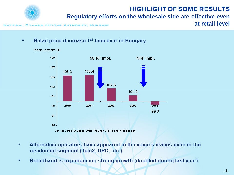 - 4 - HIGHLIGHT OF SOME RESULTS Regulatory efforts on the wholesale side are effective even at retail level Alternative operators have appeared in the