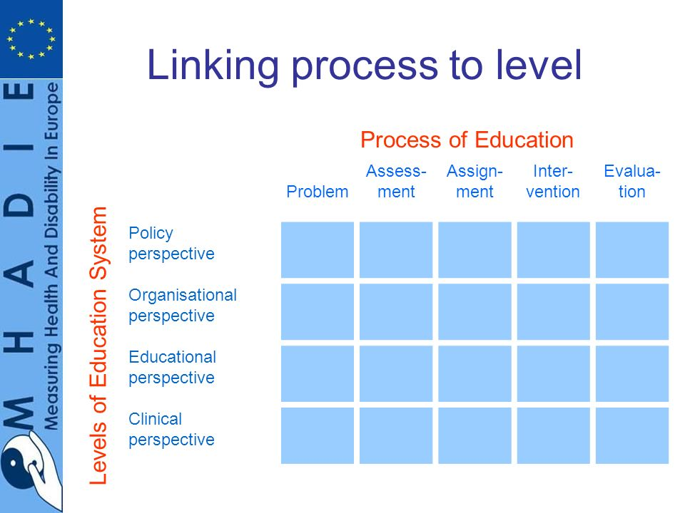 Linking process to level Problem Assess- ment Assign- ment Inter- vention Evalua- tion Policy perspective Organisational perspective Educational perspective Clinical perspective Levels of Education System Process of Education