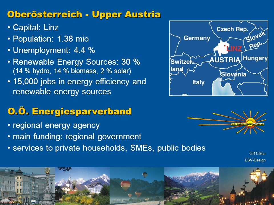 Oberösterreich - Upper Austria Capital: Linz Population: 1.38 mio Unemployment: 4.4 % Renewable Energy Sources: 30 % (14 % hydro, 14 % biomass, 2 % solar) 15,000 jobs in energy efficiency and renewable energy sources O.Ö.