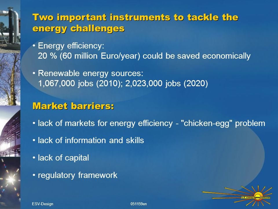 international markets for most energy sources strong difference in market development between EU countries insufficient action in many Member States European leadership in sustainable energy technologies worldwide climate change, job creation & economic development have a strong European dimension Sustainable Energy - a European issue ESV-Design051159en