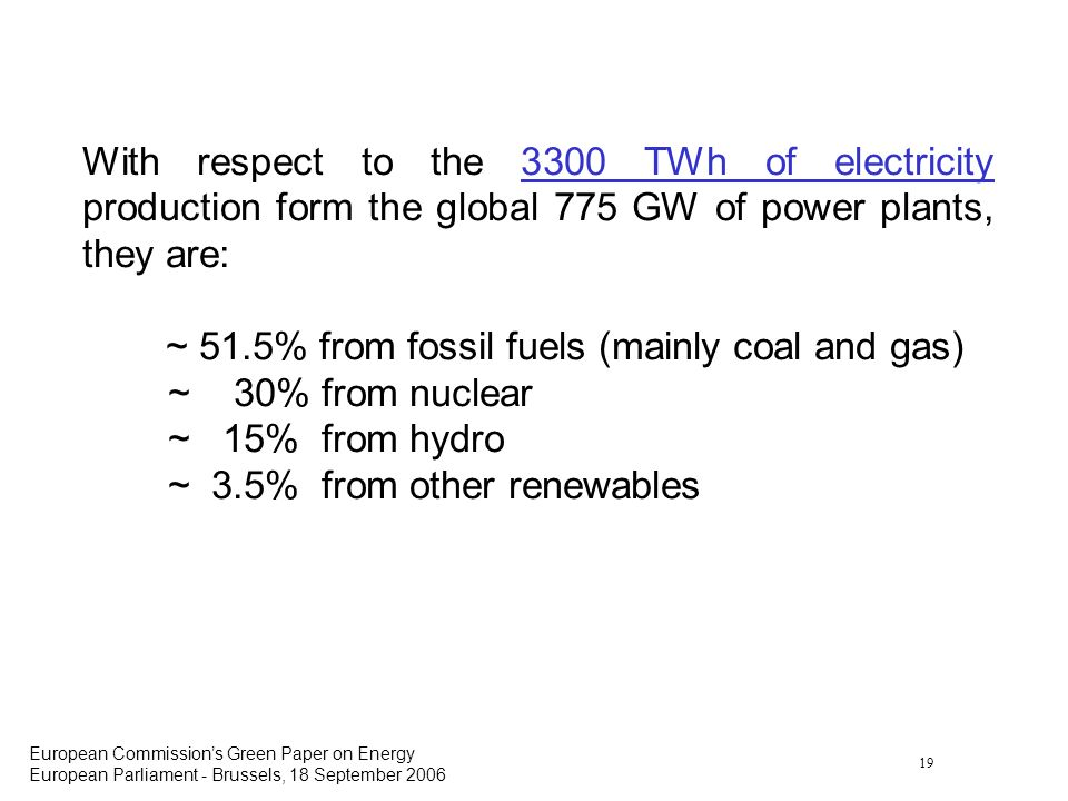 19 European Commissions Green Paper on Energy European Parliament - Brussels, 18 September 2006 With respect to the 3300 TWh of electricity production form the global 775 GW of power plants, they are: ~ 51.5% from fossil fuels (mainly coal and gas) ~ 30% from nuclear ~ 15% from hydro ~ 3.5% from other renewables