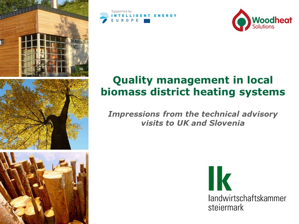 Quality management in local biomass district heating systems Impressions from the technical advisory visits to UK and Slovenia