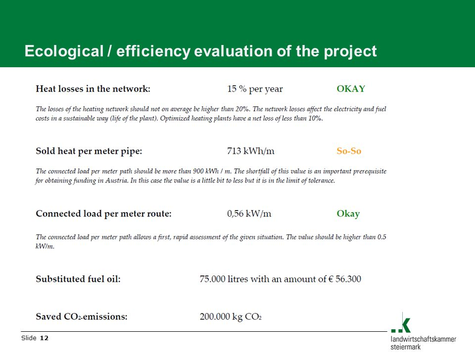 Slide 12 Ecological / efficiency evaluation of the project
