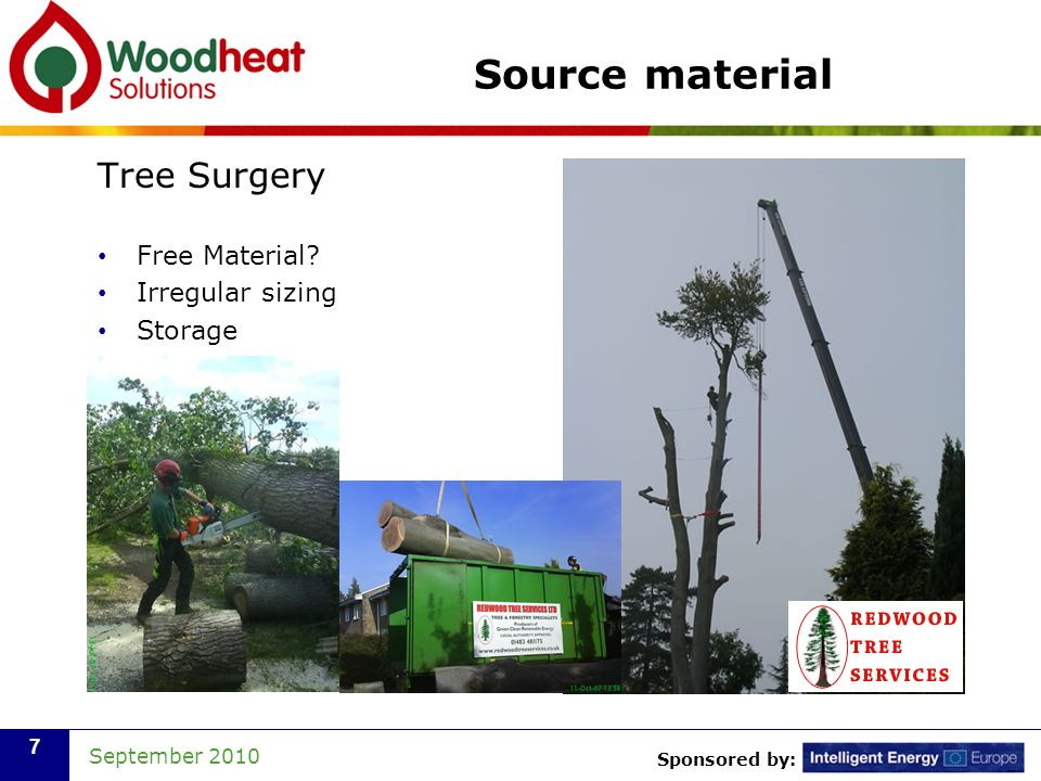 Sponsored by: September 2010 7 Source material Tree Surgery Free Material? Irregular sizing Storage