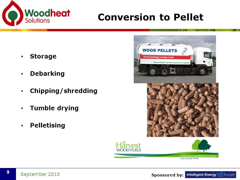 Sponsored by: September 2010 9 Conversion to Pellet Storage Debarking Chipping/shredding Tumble drying Pelletising