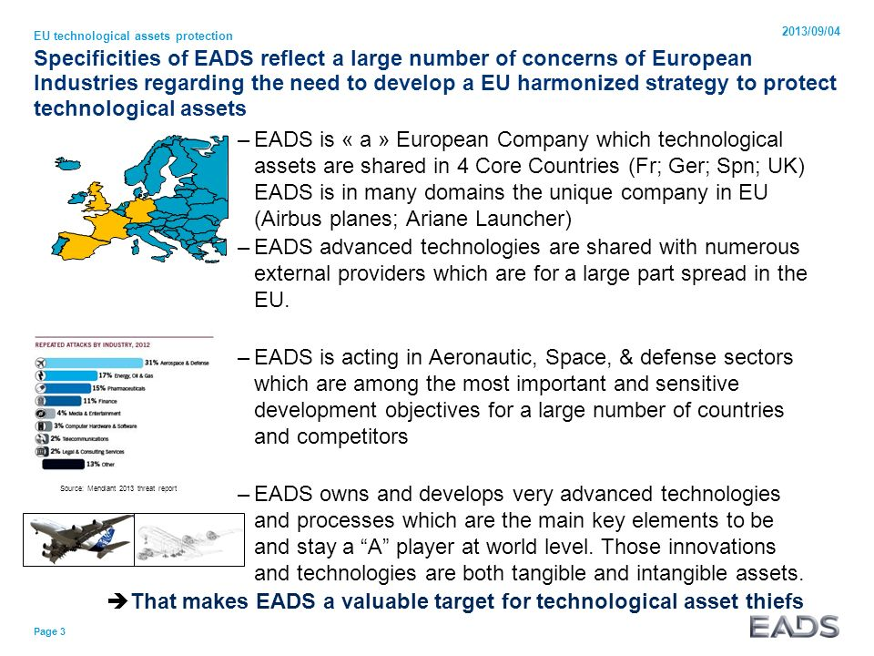 Specificities of EADS reflect a large number of concerns of European Industries regarding the need to develop a EU harmonized strategy to protect tech