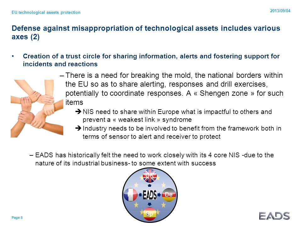 UKDeSpFr Defense against misappropriation of technological assets includes various axes (2) Creation of a trust circle for sharing information, alerts