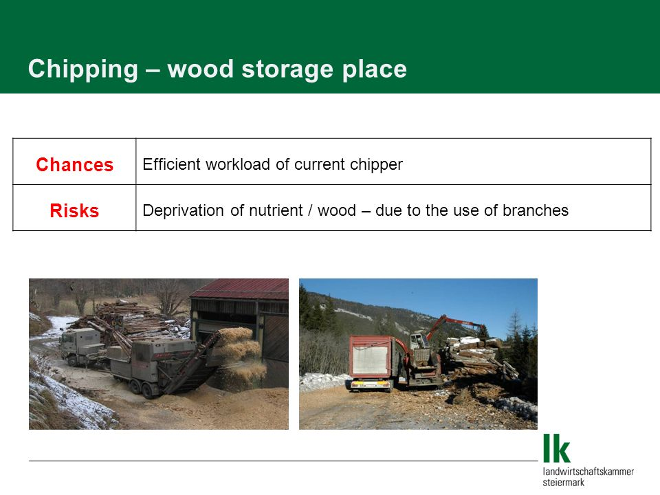Chances Efficient workload of current chipper Risks Deprivation of nutrient / wood – due to the use of branches Chipping – wood storage place