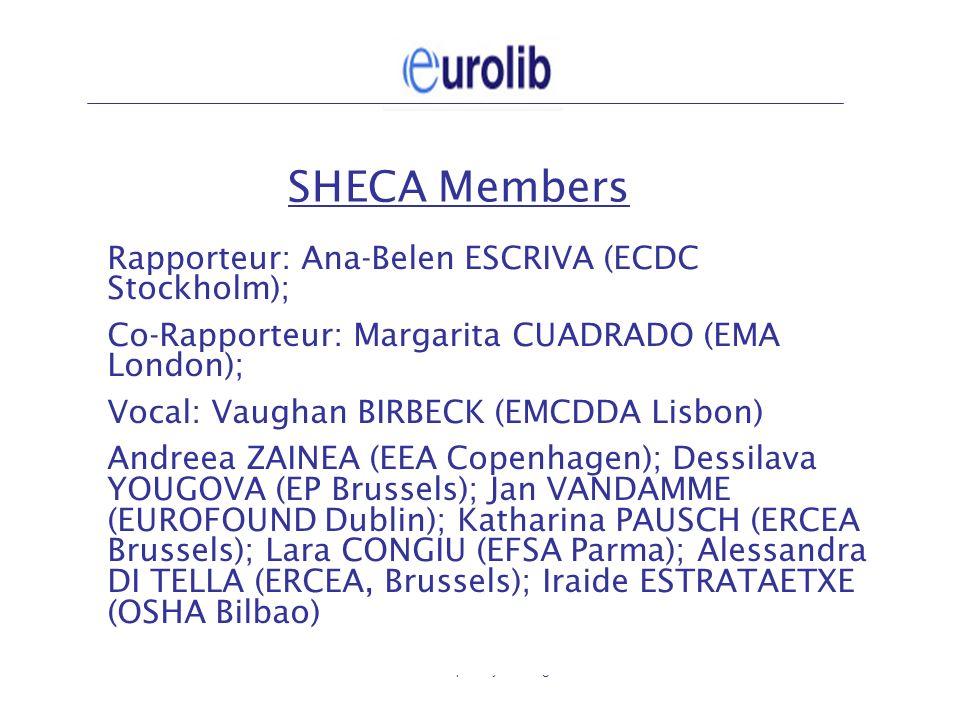 Eurolib plenary meeting4 SHECA Members Rapporteur: Ana-Belen ESCRIVA (ECDC Stockholm); Co-Rapporteur: Margarita CUADRADO (EMA London); Vocal: Vaughan