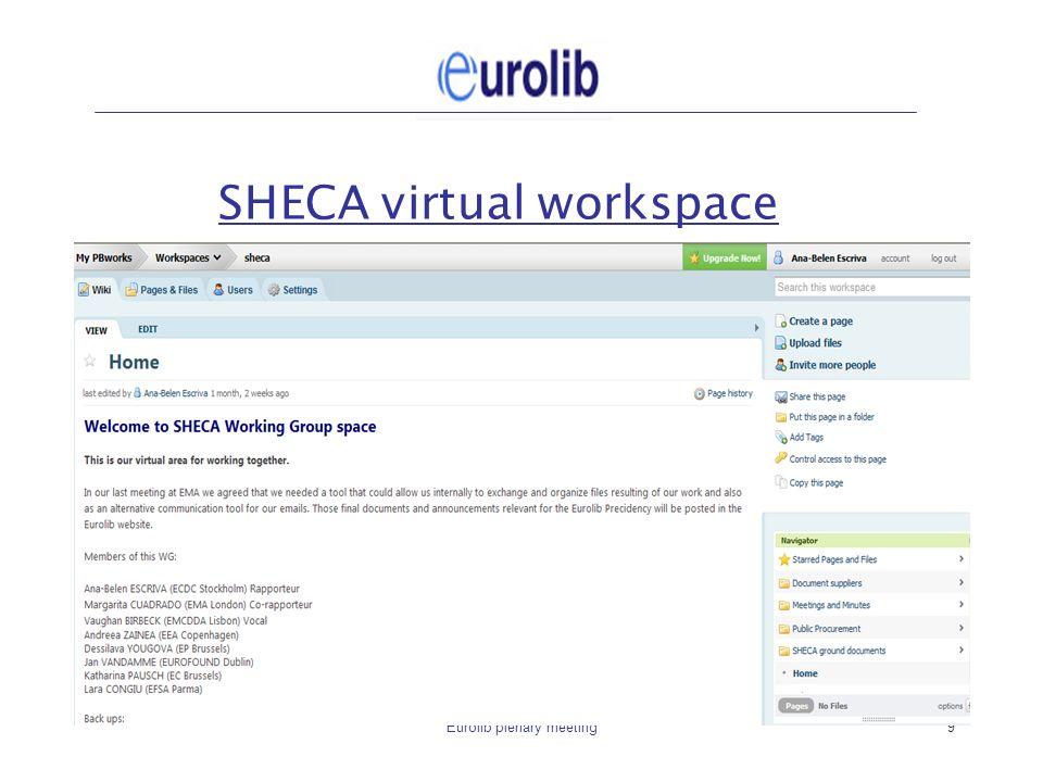 Eurolib plenary meeting9 SHECA virtual workspace