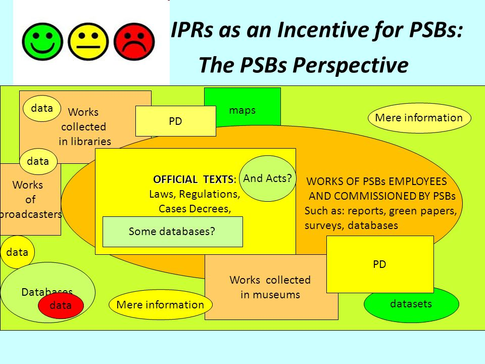 IPRs as an Incentive for PSBs: The PSBs Perspective Works collected in libraries maps WORKS OF PSBs EMPLOYEES AND COMMISSIONED BY PSBs Such as: reports, green papers, surveys, databases Works collected in museums datasets PD data Mere information OFFICIAL TEXTS OFFICIAL TEXTS: Laws, Regulations, Cases Decrees, Some Databases.