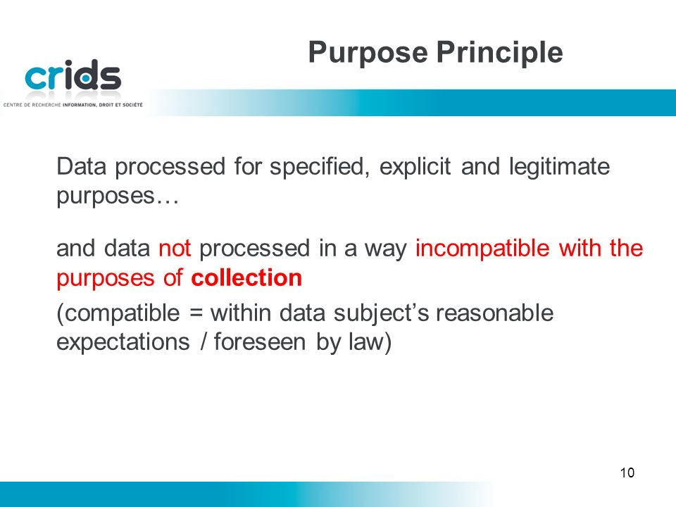 10 Purpose Principle Data processed for specified, explicit and legitimate purposes… and data not processed in a way incompatible with the purposes of collection (compatible = within data subjects reasonable expectations / foreseen by law)