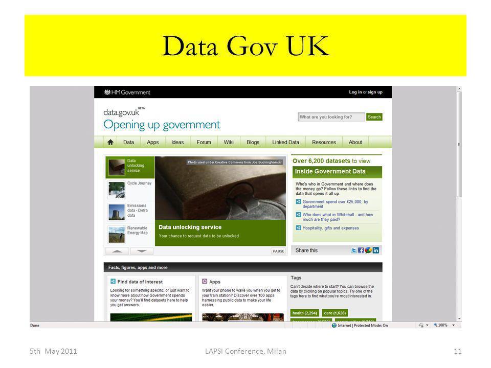 Data Gov UK 5th May 2011LAPSI Conference, Milan11