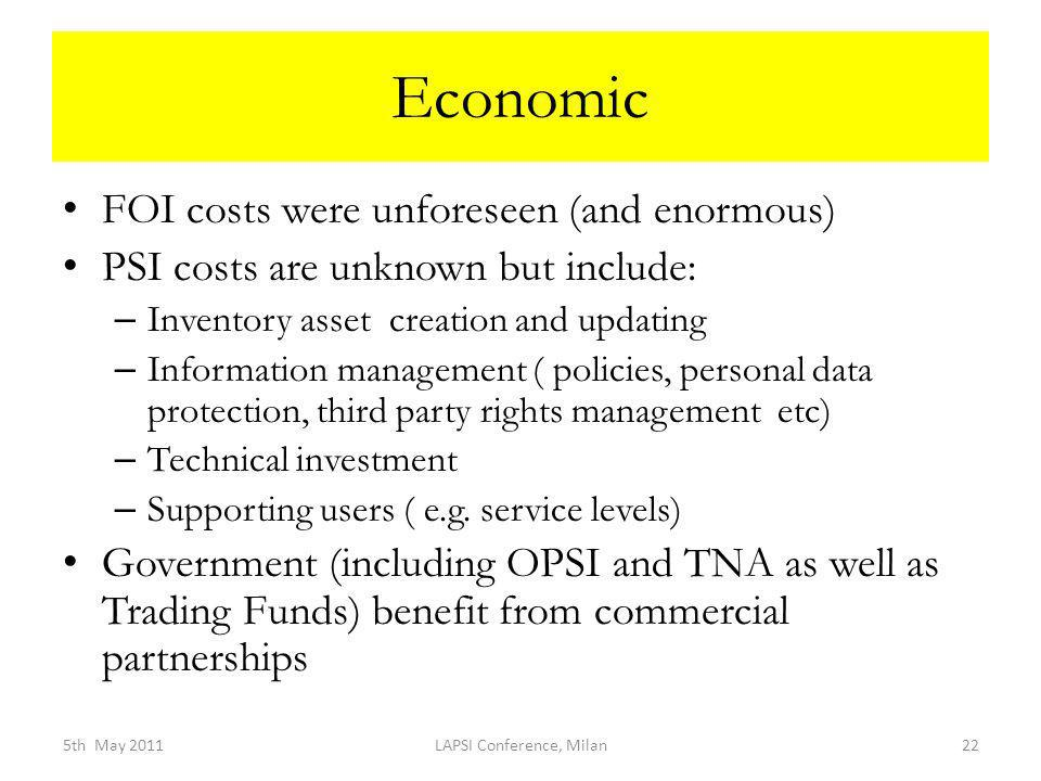 Economic FOI costs were unforeseen (and enormous) PSI costs are unknown but include: – Inventory asset creation and updating – Information management ( policies, personal data protection, third party rights management etc) – Technical investment – Supporting users ( e.g.