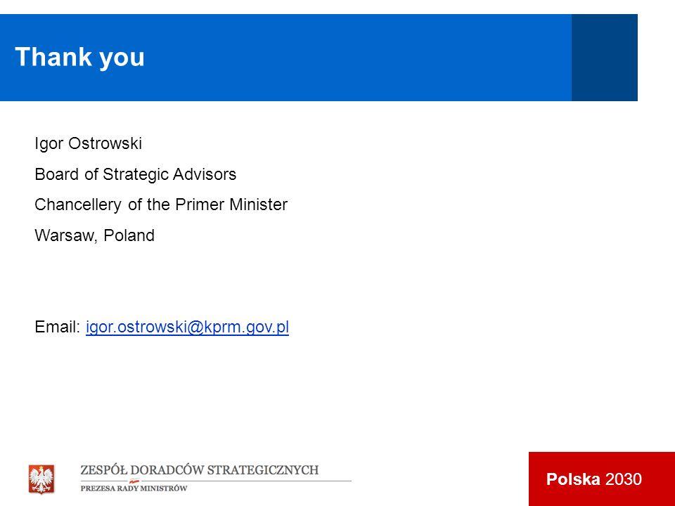 Polska 2030 Thank you Igor Ostrowski Board of Strategic Advisors Chancellery of the Primer Minister Warsaw, Poland Email: igor.ostrowski@kprm.gov.plig