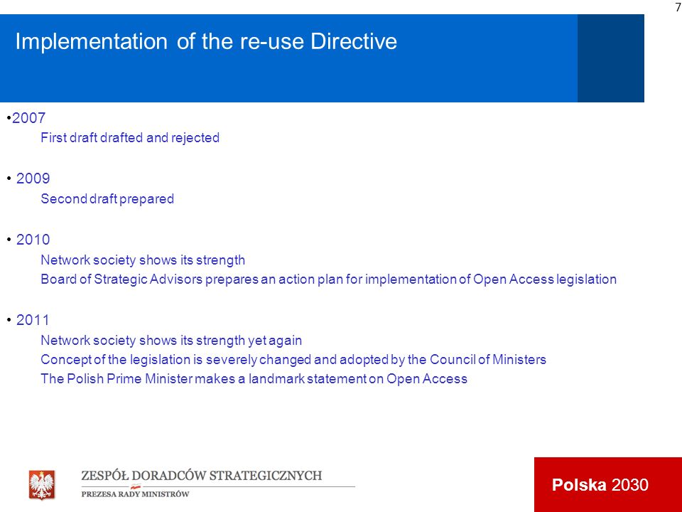 Polska 2030 Implementation of the re-use Directive 2007 First draft drafted and rejected 2009 Second draft prepared 2010 Network society shows its str