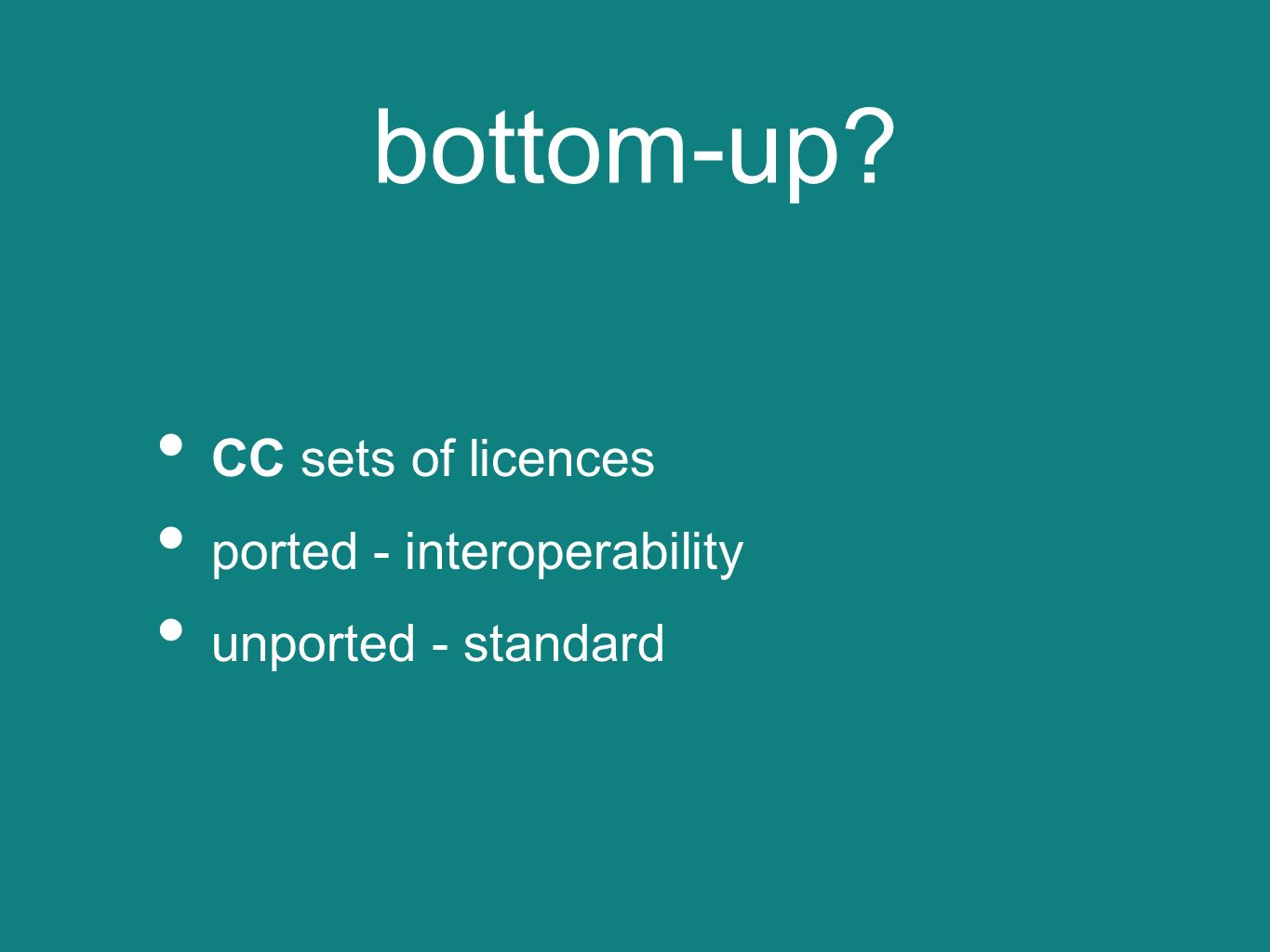 interoperability vs standard top-down licences from public bodies standard in a given territory interoperability cross-border top-down interoperable with the standard proposed bottom up standard bottom-up licencesstandard cross-border