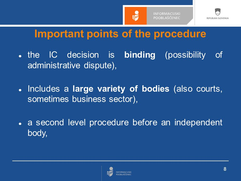 9 Important points of the procedure It s a misdemeanor and a fine can be charged, if: - Ithe body does not send the documents to the IC (inspection competences, can inlude police), - the body does not respect the IC decision, - someone re-uses information for commercial purposes, for which the body charges a price or states other conditions and the body did not allow such re-use (Ministry of Public Affairs competence).