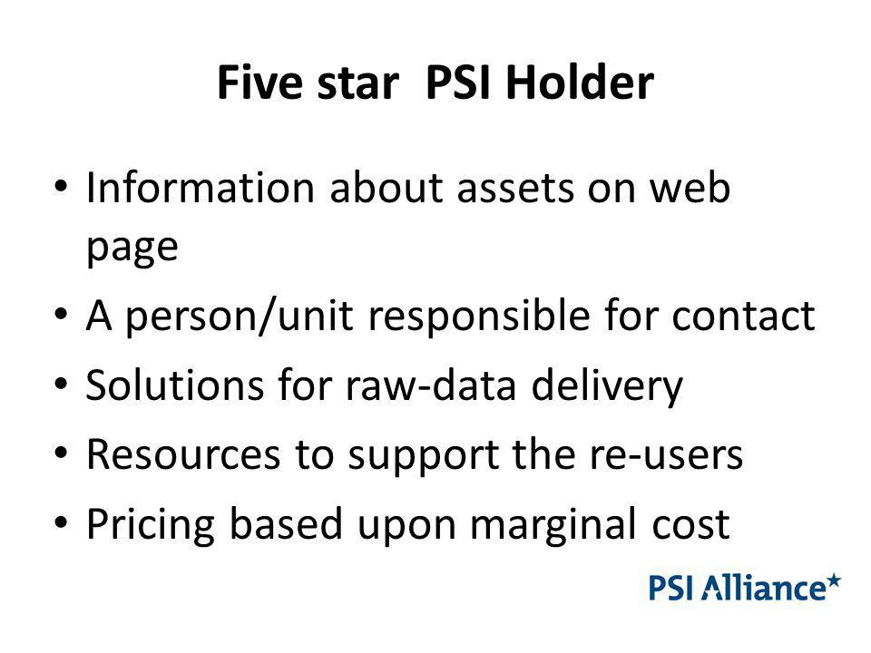 Five star PSI Holder Information about assets on web page A person/unit responsible for contact Solutions for raw-data delivery Resources to support the re-users Pricing based upon marginal cost