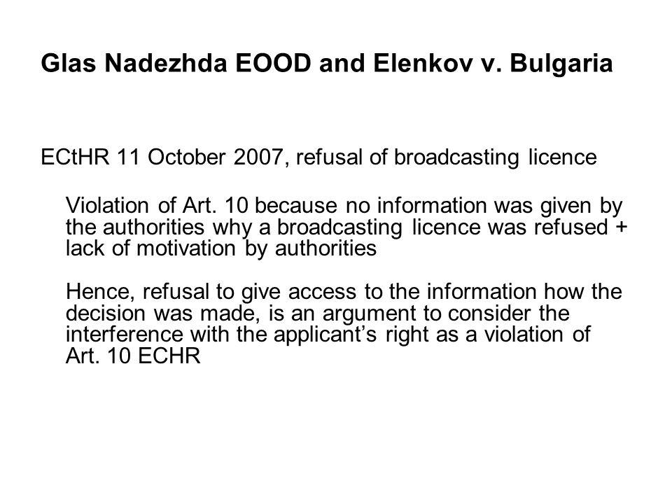 Glas Nadezhda EOOD and Elenkov v.