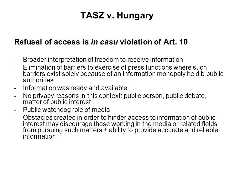 TASZ v. Hungary Refusal of access is in casu violation of Art.