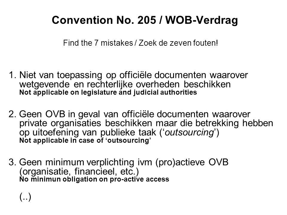 Convention No. 205 / WOB-Verdrag Find the 7 mistakes / Zoek de zeven fouten.