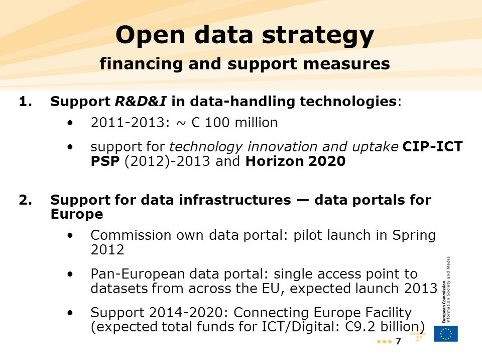 7 Open data strategy financing and support measures 1.Support R&D&I in data-handling technologies: : ~ 100 million support for technology innovation and uptake CIP-ICT PSP (2012)-2013 and Horizon Support for data infrastructures data portals for Europe Commission own data portal: pilot launch in Spring 2012 Pan-European data portal: single access point to datasets from across the EU, expected launch 2013 Support : Connecting Europe Facility (expected total funds for ICT/Digital: 9.2 billion)