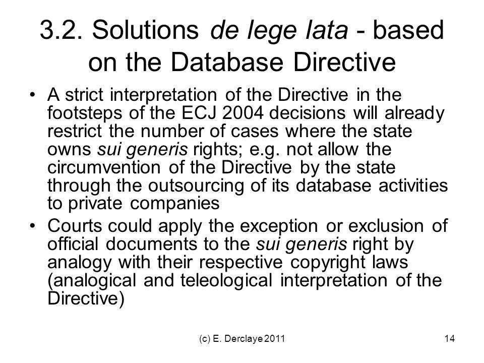 (c) E. Derclaye 201114 3.2. Solutions de lege lata - based on the Database Directive A strict interpretation of the Directive in the footsteps of the
