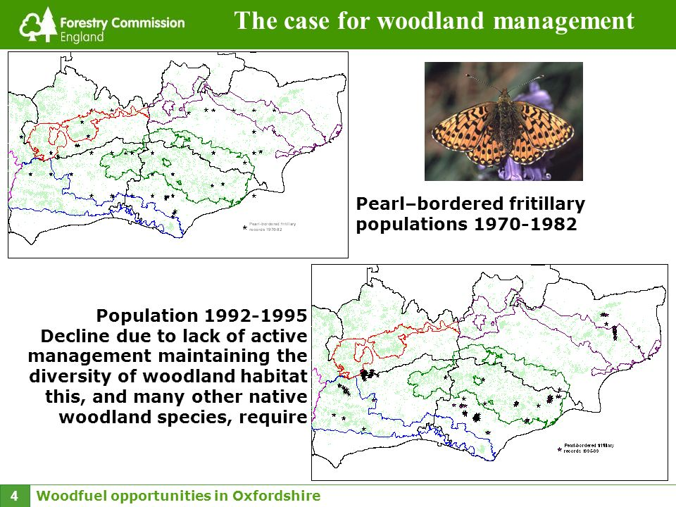 Woodfuel opportunities in Oxfordshire 4 The case for woodland management Pearl–bordered fritillary populations 1970-1982 Population 1992-1995 Decline