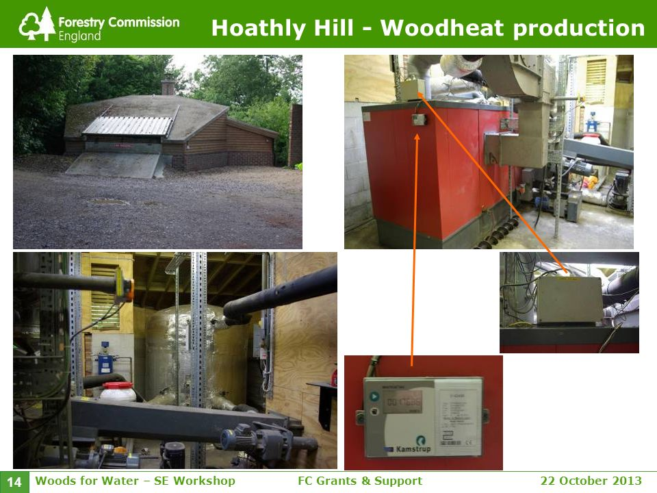 Woods for Water – SE WorkshopFC Grants & Support 22 October 2013 14 Hoathly Hill - Woodheat production