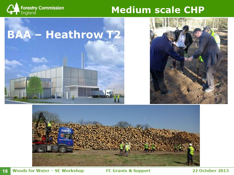 Woods for Water – SE WorkshopFC Grants & Support 22 October 2013 18 Medium scale CHP BAA – Heathrow T2