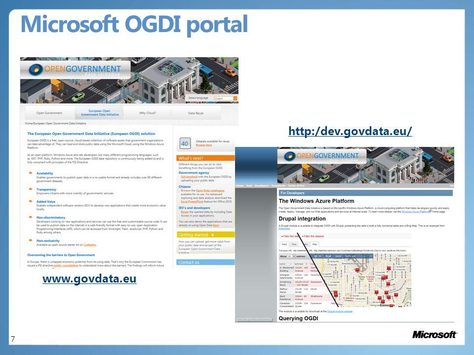 Microsoft OGDI portal 7 www.govdata.eu http:/dev.govdata.eu/