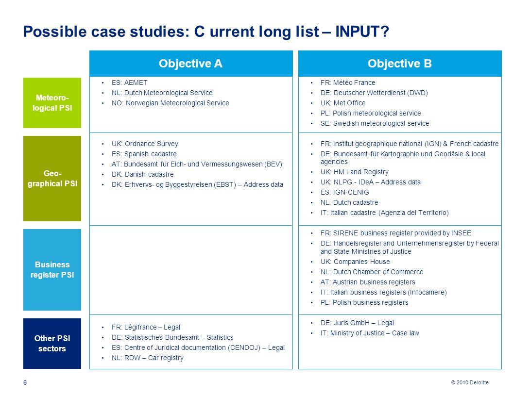© 2010 Deloitte 6 Possible case studies: C urrent long list – INPUT? Objective B FR: Météo France DE: Deutscher Wetterdienst (DWD) UK: Met Office PL: