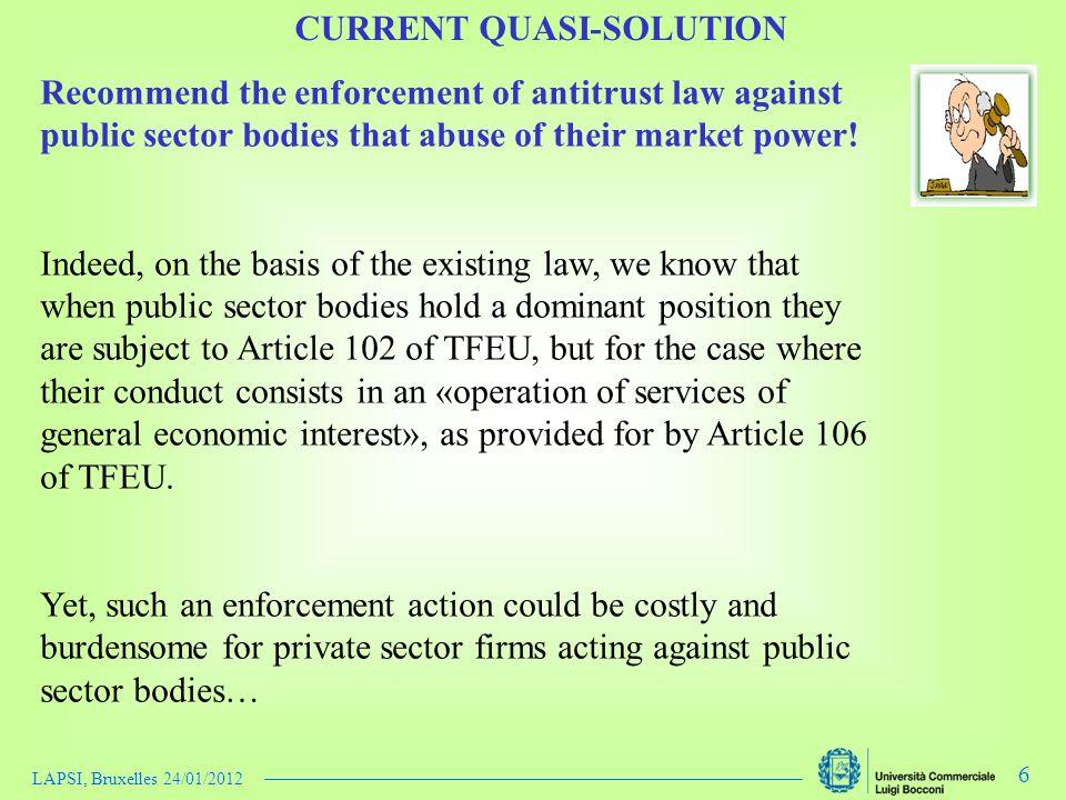 LAPSI, Bruxelles 24/01/2012 6 Recommend the enforcement of antitrust law against public sector bodies that abuse of their market power.