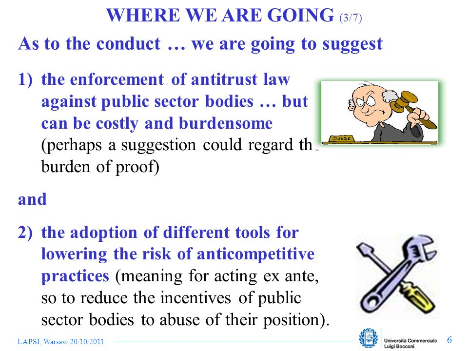 LAPSI, Warsaw 20/10/2011 6 WHERE WE ARE GOING (3/7) As to the conduct … we are going to suggest 1)the enforcement of antitrust law against public sect