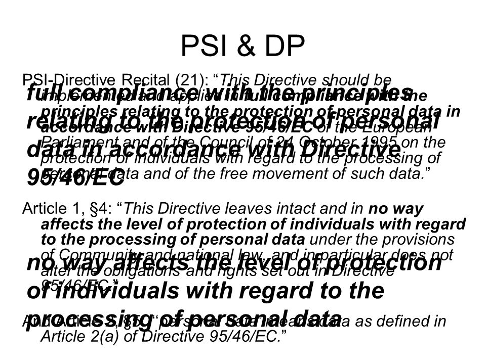PSI & DP PSI-Directive Recital (21): This Directive should be implemented and applied in full compliance with the principles relating to the protectio