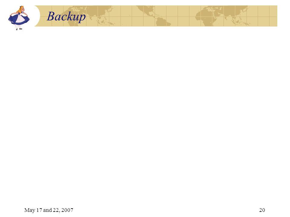 May 17 and 22, 200720 Backup